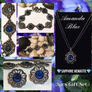 Sapphire+Hematite Statement Necklace Earrings Set